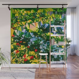 Abstract Garden Low Poly Geometric Triangles Wall Mural