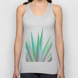 Tropical Allure - Green & Grey on White Unisex Tank Top