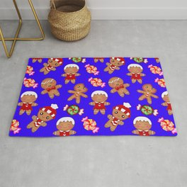 Cute decorative hygge pattern. Happy gingerbread men and sweet xmas caramel toffee candy. Xmas. Rug