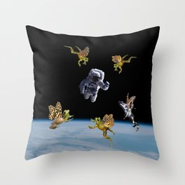 Frogs in Space Throw Pillow