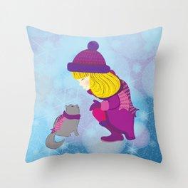 Lara with cat - Christmas Throw Pillow
