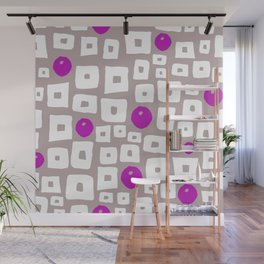 Geometric hand painted magenta pink white squares dots pattern Wall Mural