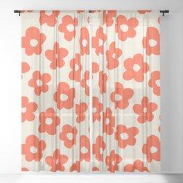Retro 60s 70s Flower Pattern #pattern #vintage #poppy Sheer Curtain