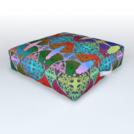 Pizza Party double rainbow gradient doodle Outdoor Floor Cushion