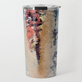 Artemis: A pretty, minimal, abstract mixed media piece in blue, gold, pink, purple, and white Travel Mug
