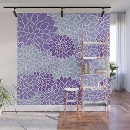 Ultra Violet Lavender Dahlias Wall Mural