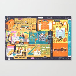 Tel Aviv Map - Montefiore Quarter Canvas Print