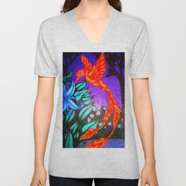 The Flame and the Moon Flower Unisex V-Neck