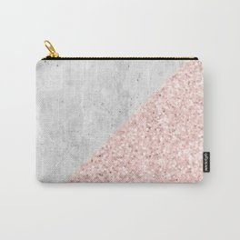 Rose Gold Glitter White Gray Marble Concrete Luxury III Carry-All Pouch