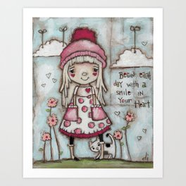 Happy Heart - Motivational Art for Girls Art Print