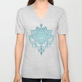 Art Nouveau Beaded Chandelier Doodle with Faux Linen Texture in Soft Teal Blue Unisex V-Neck