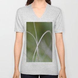 Macro of A Green Palm Tree Leaf  Fond Unisex V-Neck