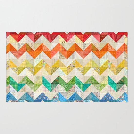 Chevron Rainbow Quilt Rug