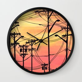 Industry poles sunset Wall Clock