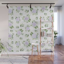 Botanical lavender white green watercolor floral Wall Mural
