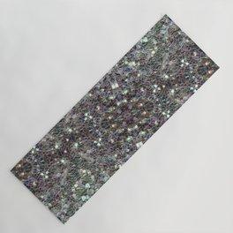 Sparkly colourful silver mosaic mandala Yoga Mat