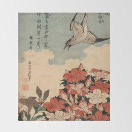 Hokusai Cuckoo and azaleas -hokusai,manga,japan,Katsushika,cuckoo,azaleas,Rhododendron Throw Blanket