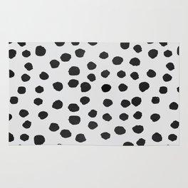 watercolor black polka dots Rug