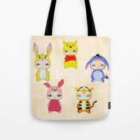 tigger Tote Bags featuring A Boy - Winnie and friends by Christophe Chiozzi