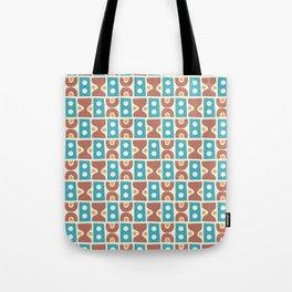 Mid Century Abstract Pattern Cerulean Beige Brown Tote Bag