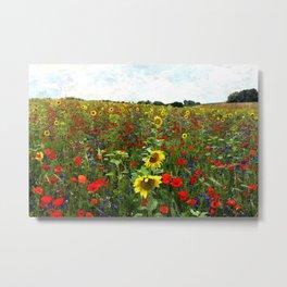Field of Sunflowers, Bluebonnets, & Red Poppy floral portrait painting by J. Ferro & M. Bruggen  Metal Print
