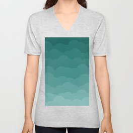 Teal Ombre Clouds Unisex V-Neck