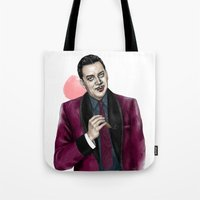 selena gomez Tote Bags featuring Gomez by Myrtle Quillamor