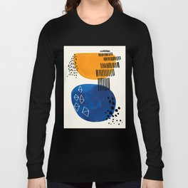 Fun Colorful Abstract Mid Century Minimalist Yellow Navy Blue Whiscial Patterns Organic Shapes Long Sleeve T-shirt