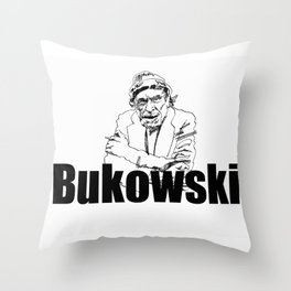 Charles Bukowski Drawing Throw Pillow