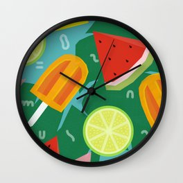 Watermelon, Lemon and Ice Lolly Wall Clock