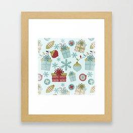 Merry Christmas-Festive gift and Christmas Bowls X-Mas Pattern Framed Art Print