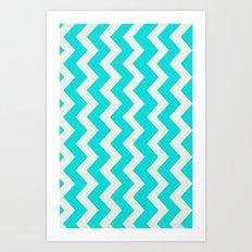 Crazy for Chevron - Aqua Art Print