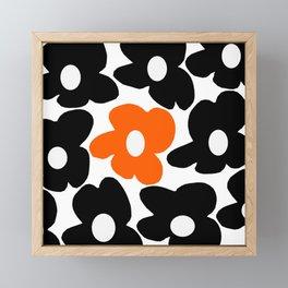 Large Orange and Black Retro Flowers White Background #decor #society6 #buyart Framed Mini Art Print