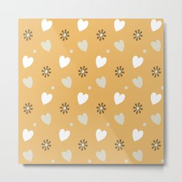 Hearts & Flowers in Summer - Soft Golden Ochre - Continuous Pattern Metal Print