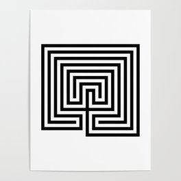 Cretan labyrinth in black and white Poster