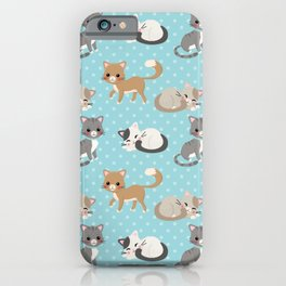 Cute Cat Pattern - Light Blue Polka Dots iPhone Case