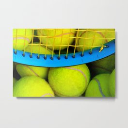 Yellow Tennis Balls And A Blue Racket Metal Print