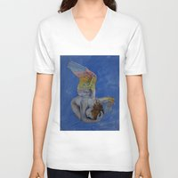 angel V-neck T-shirts featuring Angel by Michael Creese