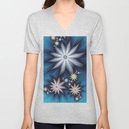 Midnight in Spring, Modern Fantasy Fractal Art Unisex V-Neck