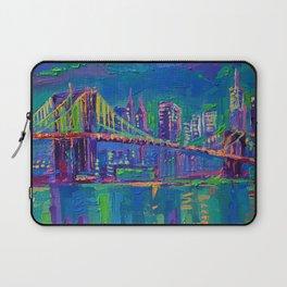 New York City Night Lights - palette knife painting urban Brooklyn bridge skyline Laptop Sleeve