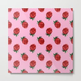 Beautiful Protea Pattern - White Polka Dots on Pink Background - Australian Native Flowers Metal Print