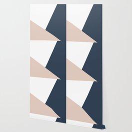 Navy and Cream Block Wallpaper