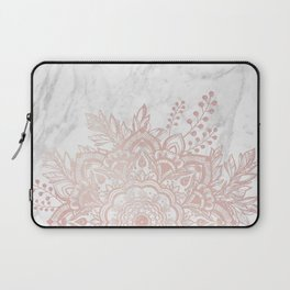 Queen Starring of Mandala-White Marble Laptop Sleeve