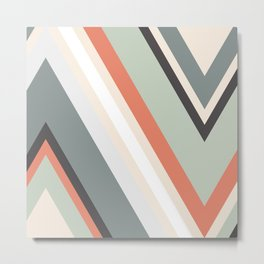 Triangles - Duck Egg Blue/Apricot Metal Print