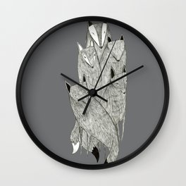 Foxes & Badgers Wall Clock