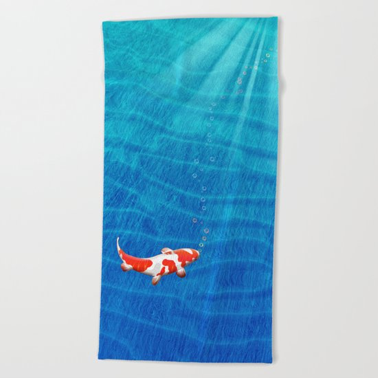 the last koi Beach Towel