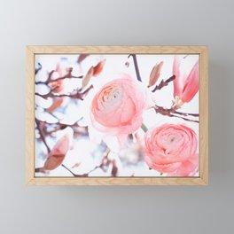 noble floral pattern of magnolia and ranunculus flowers Framed Mini Art Print