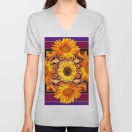 Ornate Burgundy Purple  Gold Sunflowers Art Unisex V-Neck
