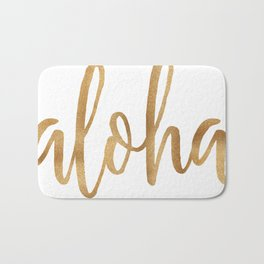 Aloha - gold and white Bath Mat