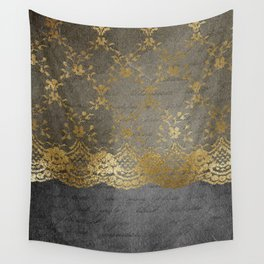 Pure elegance I- gold glitter luxury lace on black grunge background Wall Tapestry